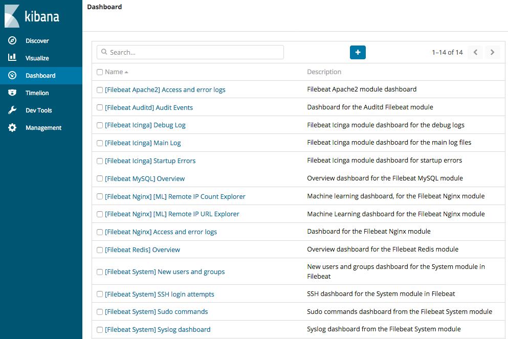 Step 7: View the sample Kibana dashboards   Filebeat