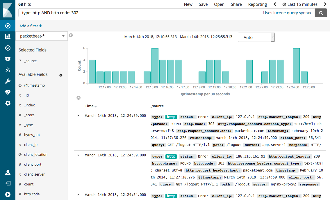 Kibana queries and filters | Packetbeat Reference [7 3