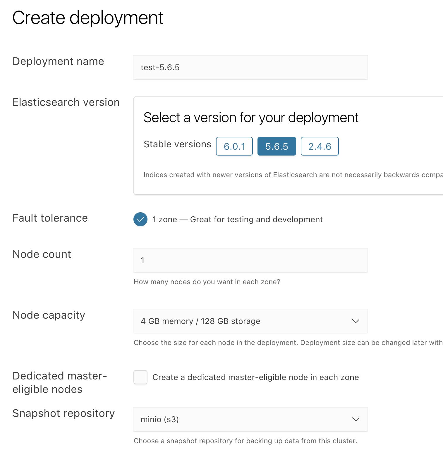 Snapshotting to Minio on-premise storage | Elastic Cloud Enterprise