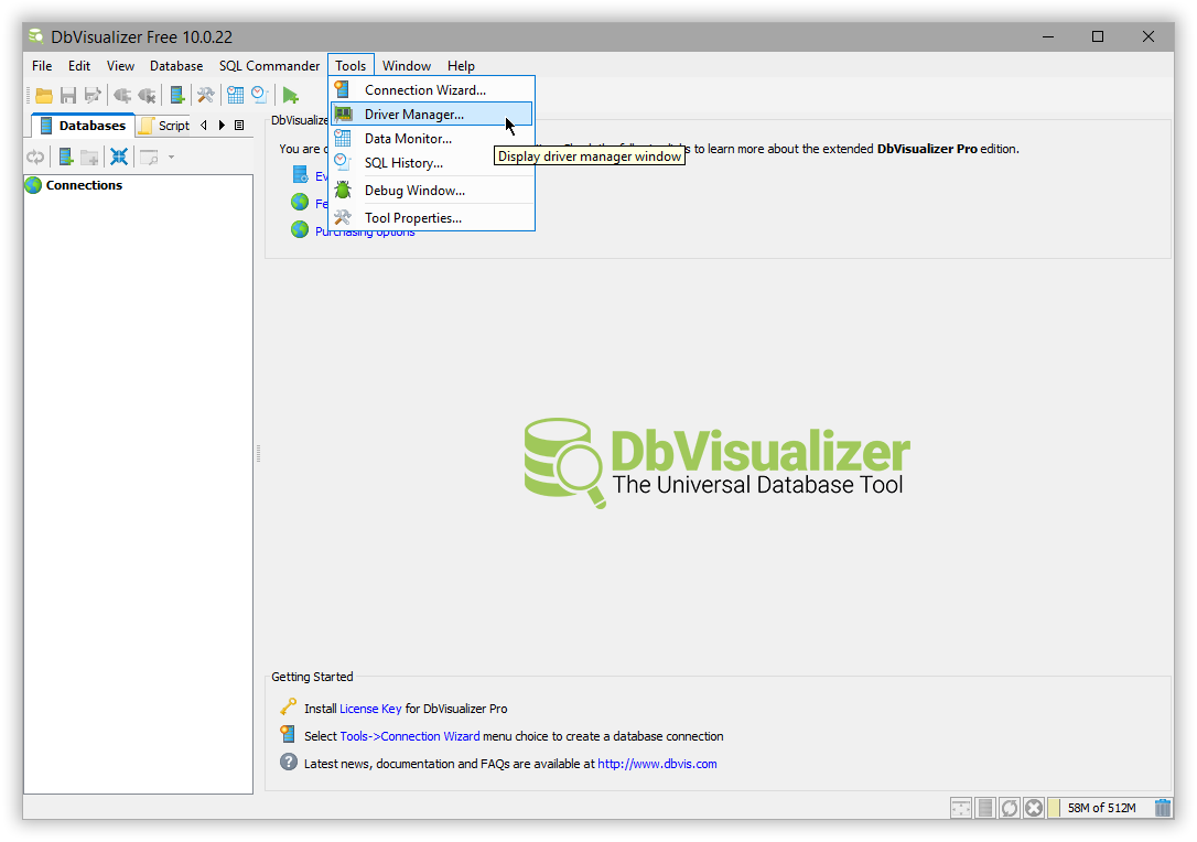 DbVisualizer | Elasticsearch Reference [6 8] | Elastic