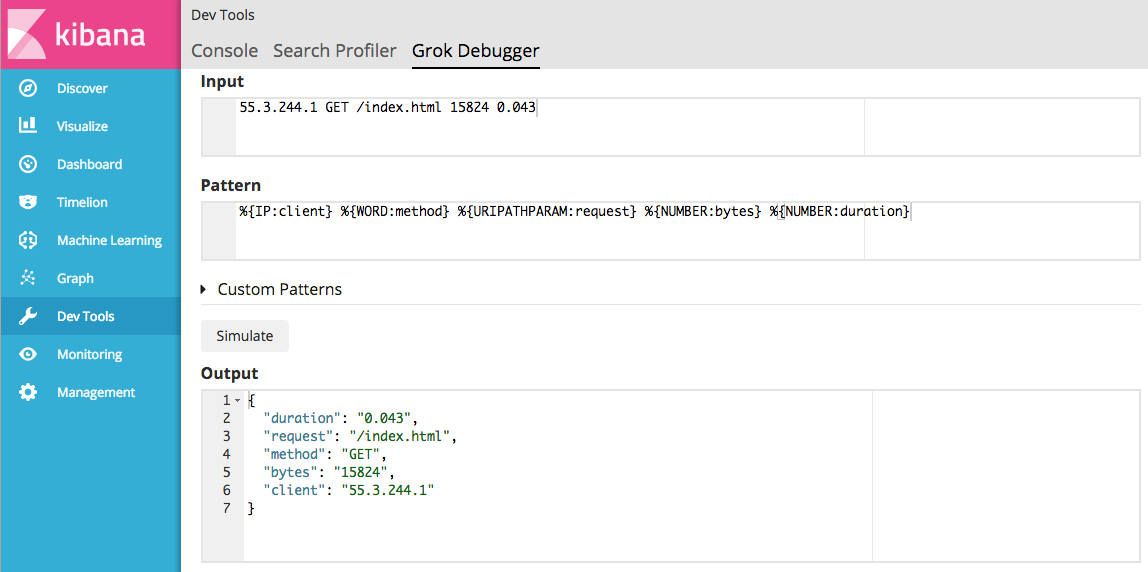 Getting Started with the Grok Debugger | Kibana User Guide