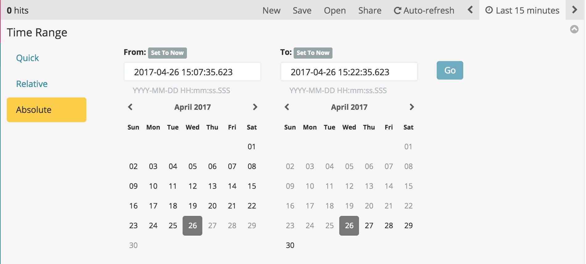 Setting the Time Filter | Kibana User Guide [5 5] | Elastic