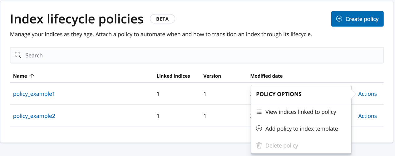 Managing index lifecycle policies | Kibana User Guide [6 7