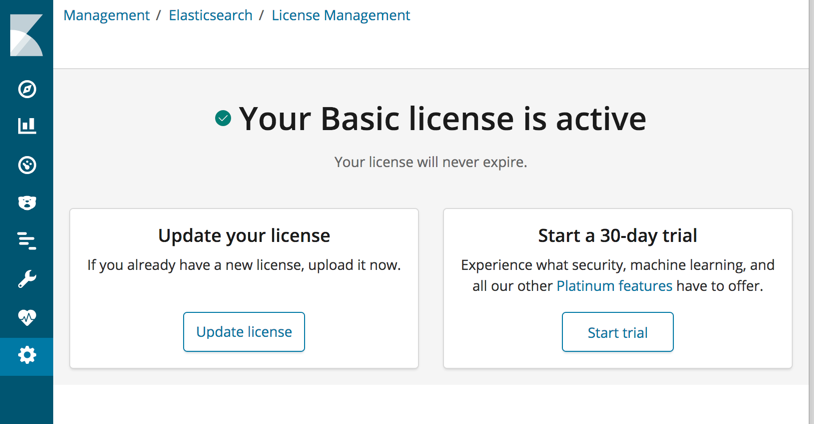 License Management   Kibana User Guide [6 7]   Elastic