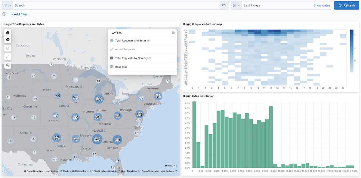 Adding the map to a dashboard | Kibana Guide [7 x] | Elastic